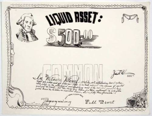 "Jonathan Herder - ""Liquid Asset (Stock Certificate),"" 2004, Ink on Paper, 9 x 11 inches"