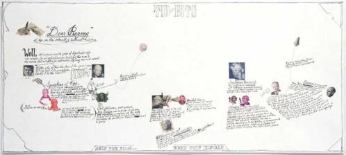"""Jonathan Herder - """"Tid-Bits,"""" 2007, Stamp Collage and Ink on Paper, 9 x 20 inches"""