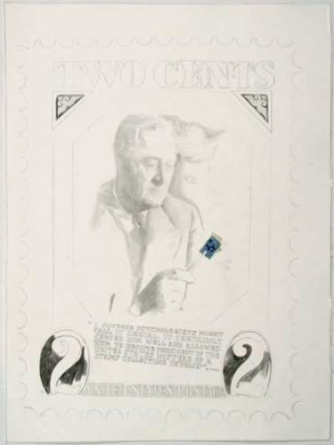 """Jonathan Herder - """"FDR Two Cents (1)."""" 2006, Stamp Collage and Graphite on Paper, 30 x 22.5 inches"""