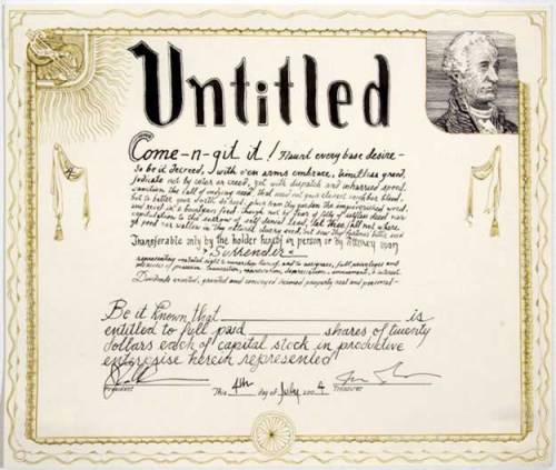"Jonathan Herder - ""Stock Certificate (Untitled),"" 2004, Ink and Dye on Paper, 9 x 11 inches"