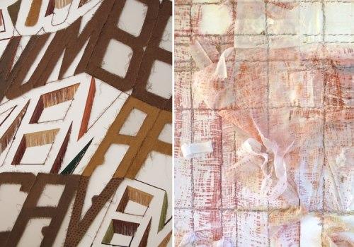 """Herritt / Herzog Evite - Left: Linda Herritt, """"Terra Infirma"""" (Installation Detail), 2014 Right: Elana Herzog, """"Valence"""" (Installation Detail), 2014"""