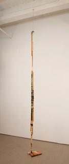 "Elana Herzog - ""Untitled,"" 2011, Wood, textile, metal staples, hardware, 129"" x 7"" x 13"""