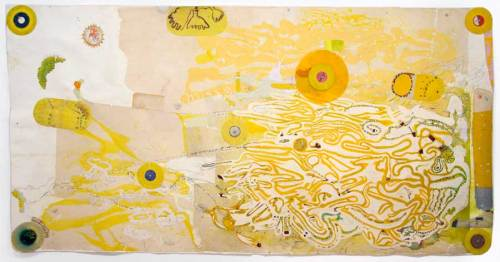 """Sharon Horvath - """"Dune Life"""" 2019, Pigment, polymer, mixed media on paper, 55.5 x 108 inches. Sold"""