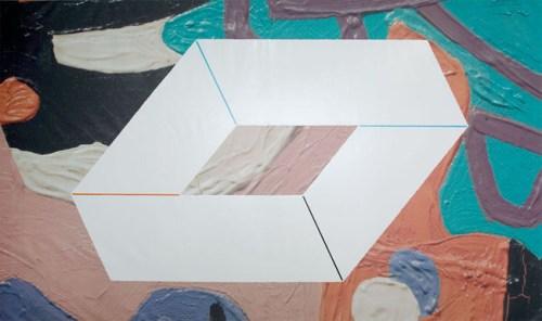 O (Davis) - 2008, Acrylic on digital print on vinyl, 114 x 190 inches