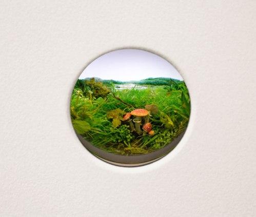 "Patrick Jacobs - ""Fly Agaric Mushroom Cluster #8,"" 2014, Styrene, acrylic, cast neoprene, paper, ash, talc, starch, polyurethane foam, acrylite, vinyl film, wood, stell, lighting, BK7 glass Interior box 11.25 x 14.75 x 9.25 inches. 2 inch lens"
