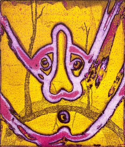 "Patrick Jacobs - Split Vision (Night Spirits I),"" 2020, Unique Viscosity Print, 6 x 5 inches"