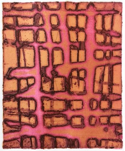 "Patrick Jacobs - ""Pink Sticks (Night Spirits I),"" 2018, Unique Viscosity Print, 6 x 5 inches"