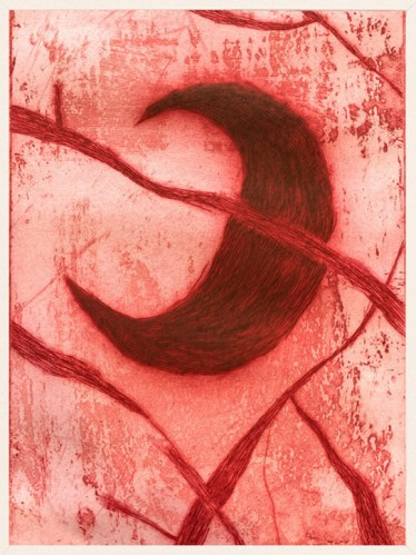 "Patrick Jacobs - ""Sickle Moon (Pink Nightfall),"" 2020, Copperplate Etching and Aquatint with Drypoint, 16 x 12 inches each"