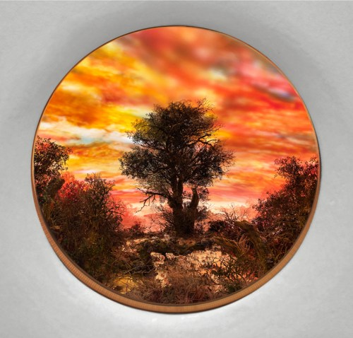 "Patrick Jacobs - ""Tree with Red Moonlit Sky,"" 2020, Diorama viewed through 7.5 inch window (19 cm). Styrene, clay, paper, foam, wood, acrylic, steel, lighting, BK7 glass. Box dimensions: 20 (H) x 28 (W) x 20 (D) inches (51 x 71 x 51 cm)"