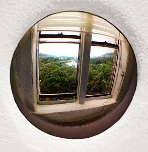 Window (View of the Gowanus Heights #2) - 2010 Paper, acrylic, extruded styrene, copper acrylic gel medium, concrete, hair, steel, acrylite, tin, lighting, BK7 glass. 3-inch exposed lens. Interior box dimensions: approximately 18 (wide) x 12 (high) x 10 (deep) inches