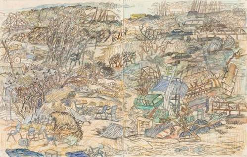 """Yun Fei Ji - """"The Wreckage,"""" 2008, Color pencil and graphite on paper, 14 x 22 inches. Courtesy of James Cohan Gallery."""