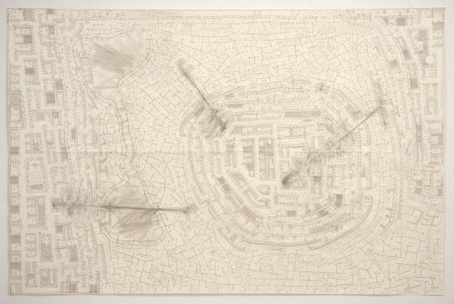 Untitled (War Drawing) - 2005 - 2006 - 2008, Graphite on paper, 25 x 38 inches. Sold