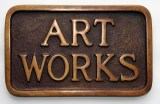 "Stephen Kaltenbach - ""Art Works, Sidewalks Plaque Series,"" 1968, Cast iron, 5.25 x 8.25 inches"