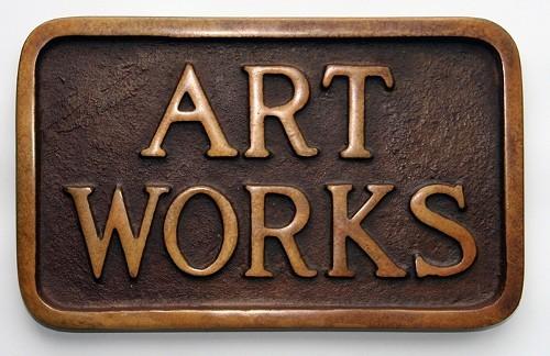 """Stephen Kaltenbach - """"Art Works, Sidewalks Plaque Series,"""" 1968, Cast iron, 5.25 x 8.25 inches"""