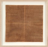 Untitled - 2013, Earth from Sienna on rice paper, thread. Set of 9 framed works. Approx. 16.5 x 16.5 each