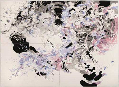 """Darina Karpov - """"Boomerang Bang,"""" 2015, Watercolor, acryilc, and graphite on paper, 44.5 x 61 inches"""