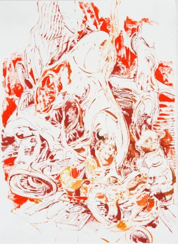 Edifice of the Bone and Fog - 2012, Oil and ink on paper, 15 x 11 inches