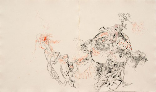 Failsafe System of Debris  III - 2012, Ink and oil on paper, 18 x 30 inches