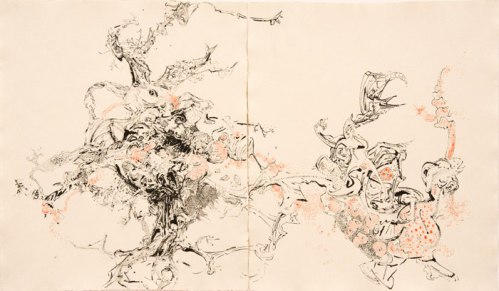 Failsafe System of Debris I - 2012, Ink and oil on paper, 18 x 30 inches