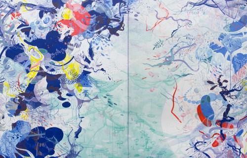 "Darina Karpov - DETAIL:  ""Relative Ways,"" 2019, Pigment, urethane, silica on canvas, 60 x 144 inches (two panels, 60 x 72 ins each panel)"