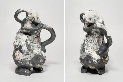 "Darina Karpov - ""Offspring I,"" (Two views), 2019, Glaze and underglaze on porcelain, 11 (H) x 7 x 7 inches"