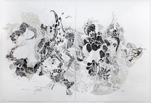 "Darina Karpov - ""Recombinant 1,"" (Diptych), 2009-2017, Watercolor, ink, graphite, collage on paper, 30 1/8 x 44 ½ inches overall"