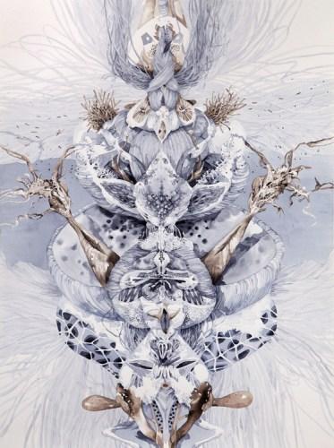 "Darina Karpov - ""Totem 6,"" 2015, Watercolor on paper, 24 x 18 inches"