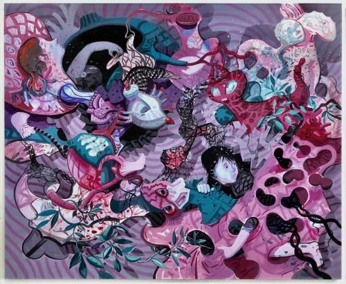 "Darina Karpov - ""Trespass and wreckage,"" 2020, Flashe and acrylic on canvas, 60 x 72 inches"