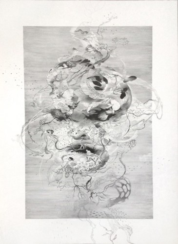 Under The Spell 2 - 2015, Graphite on paper, 19 x 12 inches. Sold