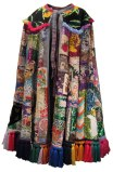 Then and Now (Cape Collaboration) - 2012, Found embroidered fabric, sequins, beads, yarn, approx. 58 x 35 x 11 inches