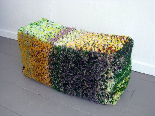 Then and Now (Hay Bale #3) - 2012, Yarn, canvas, muslin, zipper, embroidery floss, stuffing, 18 x 15 x 36 inches