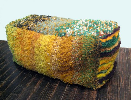 Then and Now (Hay Bale #2) - 2009, Yarn, canvas, muslin, zipper, embroidery floss, stuffing, 18 x 15 x 40 inches