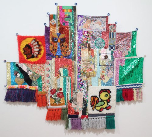 Then and Now (Indian, Owl, Clown, Duck, Chicken) - 2012, Sequins on found embroidery projects, fabric, yarn, denim, embroidery floss, 60 x 66 inches