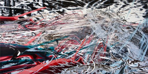 """Yoon Lee - """"Breach,"""" 2011, acrylic on PVC panels, 72 x 144 inches. Sold"""