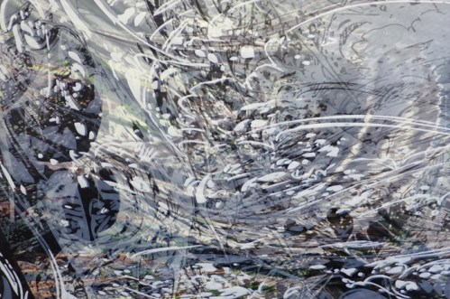 """Yoon Lee - """"A Snow Storm of Sorts,"""" 2014, Acrylic on PVC panel, 48 x 72 inches. Sold"""