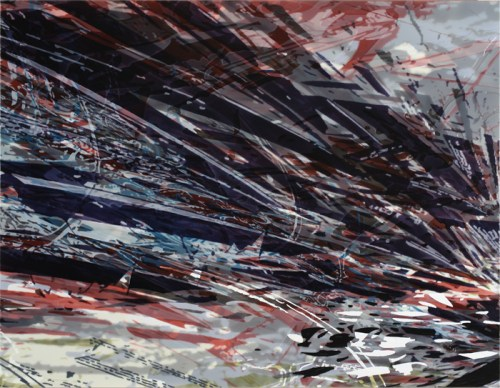 Untitled - 2014, Acrylic on PVC panel, 48 x 62 inches. Sold