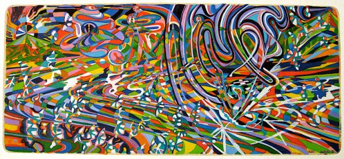 """Ati Maier - """"Red Dawn 2,"""" 2009, Ink and woodstain on paper, 11 x 24 inches"""