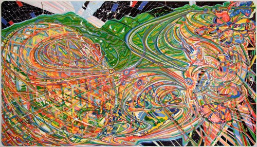 """Ati Maier - """"Savvy,"""" 2010, Airbrush, ink on paper, 53 x 94.5 inches"""