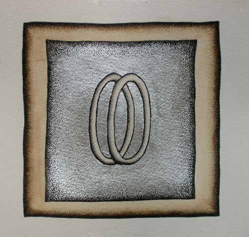 Ophanim Study (Silver) - 2009, watercolor, pen and ink, aluminum leaf on paper, 6.75 x 6.75 inches.