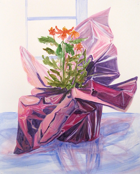 "Claire McConaughy, ""Purple Foil Plant 4,"" 2014, Acrylic on paper, 24 x 19 inches."