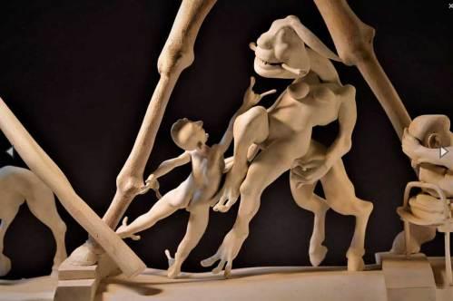 "William McKearn - ""Two Fingers,"" (Detail), 2017, wood, Bondo, shellac, 33 (H) x 40 (W) x 12 (D)"
