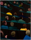 Audience in Green - 2012, acrylic on canvas over panel, 18 x 14 inches.