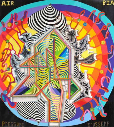 "John O'Connor - ""Blood Pressure,"" 2011, Colored pencil and graphite on paper, 77 1/2 x 70 inches."