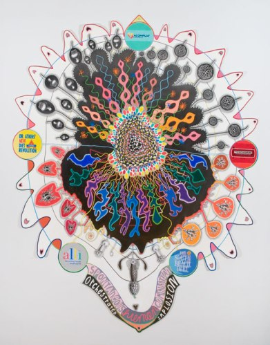 Implosion Explosion - 2013, graphite, colored pencil on paper, 74 x 57 inches