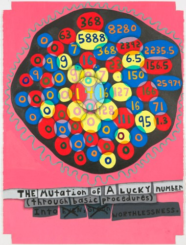 """John O'Connor - """"Lucky Number 4,"""" 2012, Colored pencil and graphite on shaped paper, 30 x 22.5 inches"""