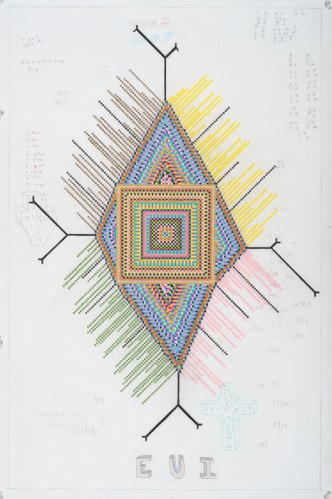 SUSEJ - 2011, Colored pencil on graph paper, 43 inches x 25 inches