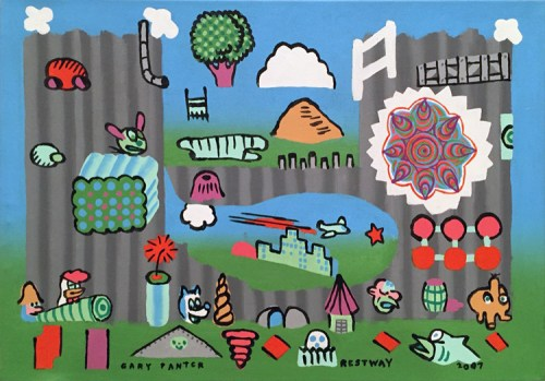 "Gary Panter (Fredericks & Freiser) - ""Restway,"" 2007, Acrylic on canvas, 23.5 x 33 inches"
