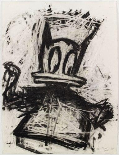 "Joyce Pensato - 'Who Am I!,"" 2014, Charcoal on paper, 27 x 20 inches. Courtesy Petzel Gallery"