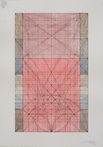"""Mark Reynolds - """"Phi Series: Internal Mu Portal and Bloom, 9.3.16,"""" 2016, Watercolor and umber ink on cotton paper, 20 x 14.125 inches"""