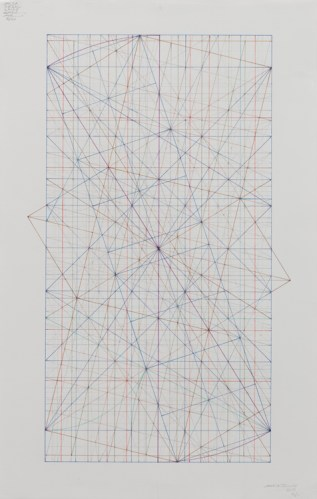 "Mark Reynolds - ""Phi Series: The 1.902 with the Triple and Quadruple Squares, 3.17,"" 2017, Graphite and ink on cotton paper, 22.25 x 14 inches"